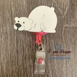 Polar Bear ID badge Holder, changeable faceplates